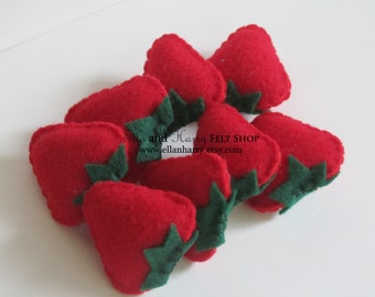 Set of 8 Felt Strawberries ~ READY TO SHIP