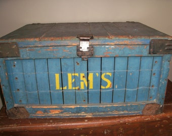 Antique Blue Wooden Trunk Chest Storage