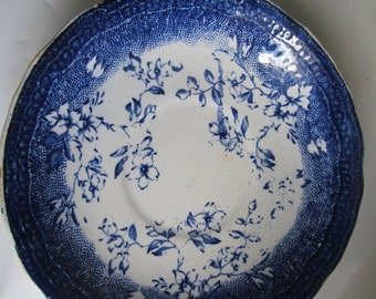 Beautiful Flow Blue Transferware Plate  Blue and White China  Libertas Russia Blue Antique Flow Blue Plate Blue Transferware saucer Plate