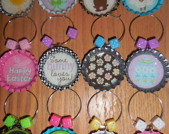 Easter Bunco Bottlecap Wine Charms