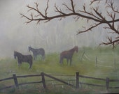 Painting Fine Art Horses in Frosty Morning Mist Landscape Acrylic on Canvas panel. 16 x 20. Unframed. Vermont scene. Winter Landscape