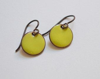 Enamel Disc Earrings / Enamel Jewelry / Enamel Dangles