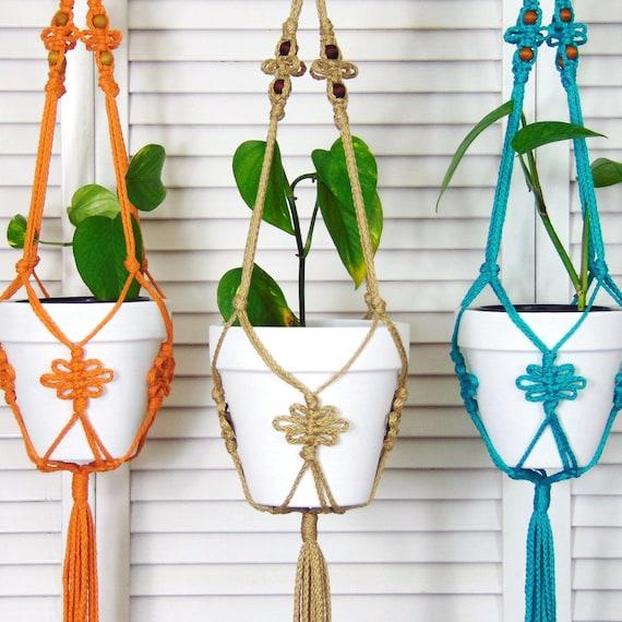 Plant Pot Holders Diy: Jute Hanging Planter Macrame Pot Holder Modern Macrame