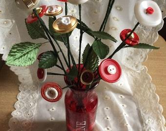 BE MINE! Vintage Button Bouquet - 15 stems plus vase