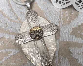 AcrossTime2-antique silverplate cross pendant-vintage metallics