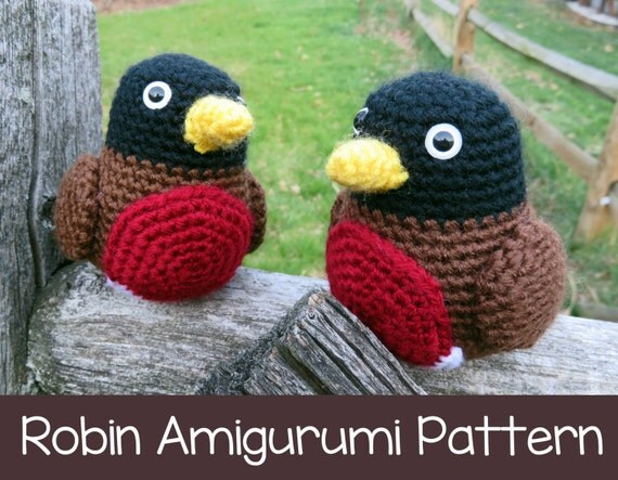 Amigurumi Crochet Patterns Free Doll : Items similar to Crochet Pattern: Robin Amigurumi Bird ...