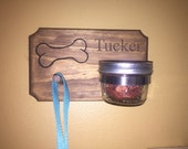 Personalized rustic pet dog treat and leash holder mason jar bone engraved name jar and hook