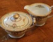 "Noritake China ""Tybalt"" Pattern Creamer and Covered Sugar Bowl; Cream and Sugar Set; Gold Trim China"