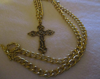 Goldtone ornate cross (heavy goldtone chain)