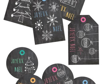 Christmas gift tags noel to print