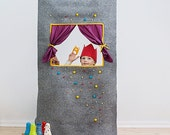 "Waldorf style, wool felt doorway puppet theatre ""Caribbean dream"" FREE SHIPPING WORLDWIDE"