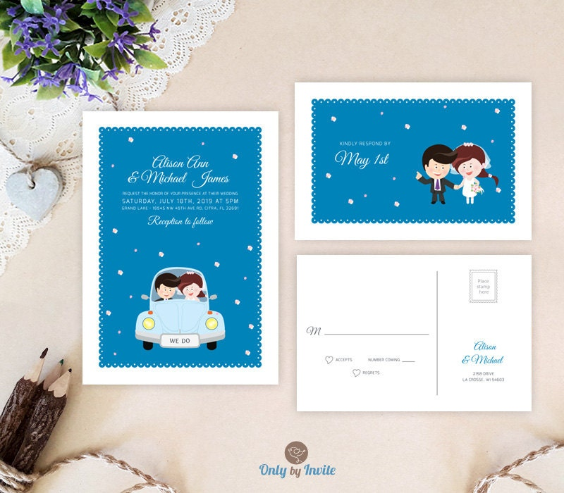 Funny Wedding Invitation Sets Personalized Cartoon Bride And