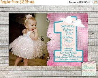 SALE Girls First Birthday Invitation Photo Printable Custom Birthday Party, Pink Chevron 1 pennant  girl party supplies PI154