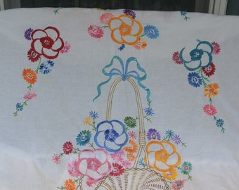 Country Embroidered Sheet - Floral Bouquet, Flowers/Bow, Can Finish into Quilt - Vintage - Beautiful!