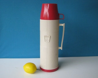 Mid Century Thermos - Glass Lined - Tall Vacuum Bottle - 1 Quart -  Model 2402 - Vintage 1960's