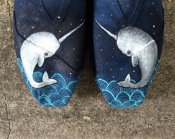 Narwhal Toms. Hand Painted Narwhal Toms. Hand painted Toms Shoes.