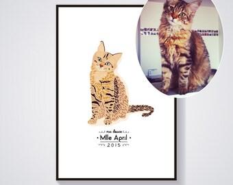 Custom cat Portrait - Individual cat portrait - custom personalized illustration - Print / Poster A4 - A3