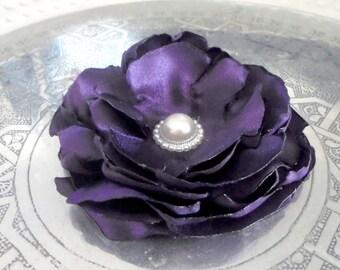 purple satin tribal fusion belly dance hair flower - wild rose woman hair accessory - Feeora Fatale hair clip