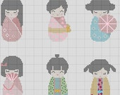 Kokeshi Dolls in Kimono 6 in 1 Japanese Cross Stitch Pattern PDF