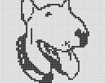 Bull Terrier Small Cross Stitch Pattern 1 Color Easy PDF Pattern