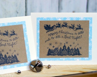 Hand Stamped To All a Good Night Christmas Card (set of 10)
