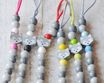 Choose your color, Pacifier clip, pacifier holder, baby gift, wolf, baby girl gift, baby shower, personalize baby gift, soother clip, grey