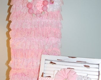 Pink Lace Romper Set with Matching Necklace and Elastic Headband