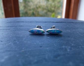 Blue Opal Sterling Silver Birthstone Stud Earrings