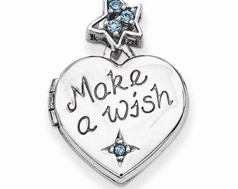 Sterling Silver Heart w/CZ Make a Wish Locket (Charm Inside Locket)