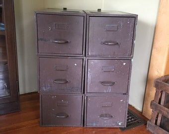 Industrial Metal File Cabinets, Brown File Cabinets, Set of three