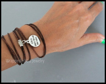 Boho Leather Wrap Bracelet - Adjustable Triple Wrap Life is Short Break the Rules Quote Charm Bangle Bracelet - USA - 736