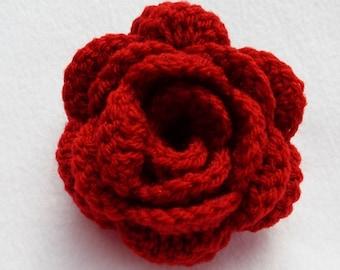 Dark red crochet rose flower hair bobble pony tail band hair tie hair accessories