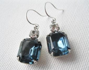 Dark Blue Crystal Bridesmaid Earrings Navy Wedding Jewelry Vintage Style Rhinestone Jewelry Old Hollywood Winter Wedding Jewelry Swarovski