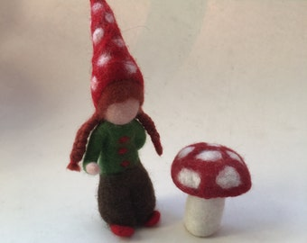 Gnome,dwarf. Hand-felted. Wet  felted .Waldorf.Toadstool.
