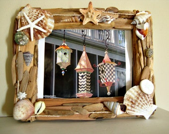 Rustic driftwood, starfish & shell picture frame.  Holds 5 X 7 picture or convert to a mirror.