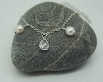 Crystal and swarovski pearl bracelet, bridesmaid bracelet, wedding bracelet, pearl bracelet, crystal bracelet, brides bracelet, charms