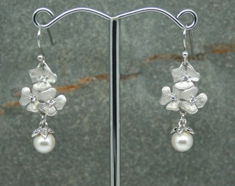 Pearl drop earrings, bridal earrings, swarovski pearl, cz earrings,  flower earrings, bridesmaid earrings