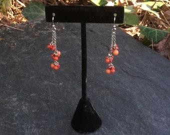 Triple Coral Dangle Earrings