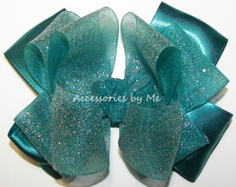 Teal Green Hair Bow, Sparkly Glittery Clip, Organza Satin Glitter Hair Ribbon, Glitz Pageant Baby Toddler 4 Inch Bows, Flower Girl Hair Band