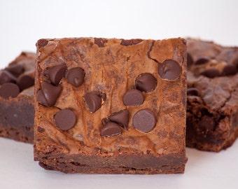 FREE SHIPPING - Triple Chocolate Brownies - 12 HUGE brownies