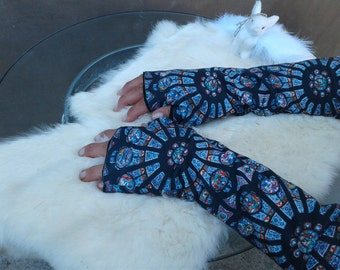 Stained Glass Cotton Fingerless    gloves
