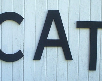 Wooden letters, CAT, 20 inch black letter word, cut in the Arial font style Wall art