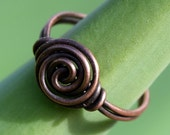 Antique Copper Ring, Wire Wrapped Ring, Spiral, Customizable, Wire Ring