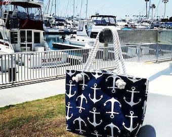 Anchor Tote Bag/Beach Bag/Beach Tote Bags/Nautical Tote/Monogrammed Tote/Custom Tote Bag/Gift Bag/Teacher Gift