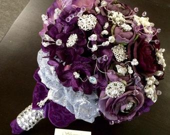 Plum Rhinestone & Pearl Brooch Bridal Bouquet