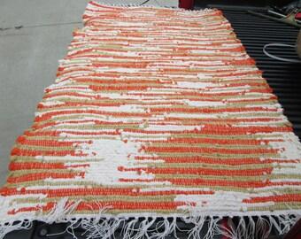 Beautiful upcycled scrap sock looper handwoven rag rug (061601)