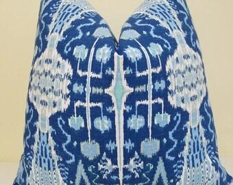 Cobalt Ikat pillow Cover - Cobalt Lacefield Bombay-  lumbar pillow- Throw Pillow- Accent Pillow Decorative Designer Pillow - 18 x 18, 20x 20