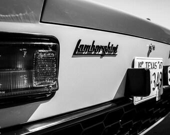 Lamborghini miura, Photography, fine art Photography, Black and white, wall art, home décor, car photography, vintage, auto, gift, print