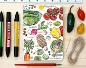 Garden notebook, personalized, vegetables, gift for gardener, journal, notepad, garden illustration.