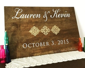 Rustic Wood Wedding Welcome Sign Hand Painted With Couples Names Date and Designs - WS-179